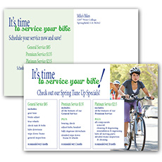 bicycle service reminder postcard